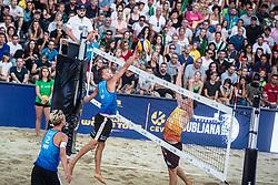 Yorick de Groot of Netherlands and Johannes Kratz of Austria at Beach Volleyball Challenge Ljubljana 2019, on August 4, 2019 in Kongresni trg, Ljubljana, Slovenia. Photo by Grega Valancic / Sportida