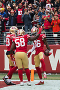 San Francisco 49ers cornerback Dontae Johnson (36) celebrates a touchdown against the Jacksonville Jaguars at Levi's Stadium in Santa Clara, Calif., on December 24, 2017. (Stan Olszewski/Special to S.F. Examiner)