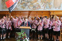 25.05.2015, Rathaus Platz, Ingolstadt, GER, 2. FBL, FC Ingolstadt 04, Aufstiegsfeier, im Bild Ansprache des Oberbuergermeisters der Stadt Ingolstadt Dr. Christian Loesel - im Hintergrund die Mannschaft - Kapitaen Marvin Matip (Nr.34, FC Ingolstadt 04) schwenkt die FC-Fahne // during the 2nd German Bundesliga championship party of FC Ingolstadt 04 at the Rathaus Platz in Ingolstadt, Germany on 2015/05/25. EXPA Pictures © 2015, PhotoCredit: EXPA/ Eibner-Pressefoto/ Strisch<br /> <br /> *****ATTENTION - OUT of GER*****