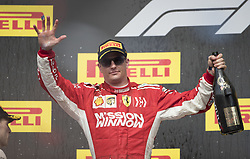 October 21, 2018 - Austin, USA - Scuderia Ferrari driver Kimi Raikkonen (7) of Finland on the podium after winning the Formula 1 U.S. Grand Prix at the Circuit of the Americas in Austin, Texas on Sunday, Oct. 21, 2018. (Credit Image: © Scott Coleman/ZUMA Wire)