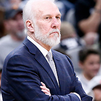 02 April 2017: San Antonio Spurs head coach Gregg Popovich is seen during the San Antonio Spurs 109-103 victory over the Utah Jazz, at the AT&T Center, San Antonio, Texas, USA.