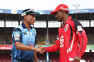 Titans captain Henry Davids and Trinidad &amp; Tobago captain Denesh Ramdin shake hands after the toss during match 16 of the Karbonn Smart Champions League T20 (CLT20) 2013  between The Titans and Trinidad and Tobago held at the Sardar Patel Stadium, Ahmedabad on the 30th September 2013<br /> <br /> Photo by Shaun Roy-CLT20-SPORTZPICS  <br /> <br /> Use of this image is subject to the terms and conditions as outlined by the CLT20. These terms can be found by following this link:<br /> <br /> http://sportzpics.photoshelter.com/image/I0000NmDchxxGVv4