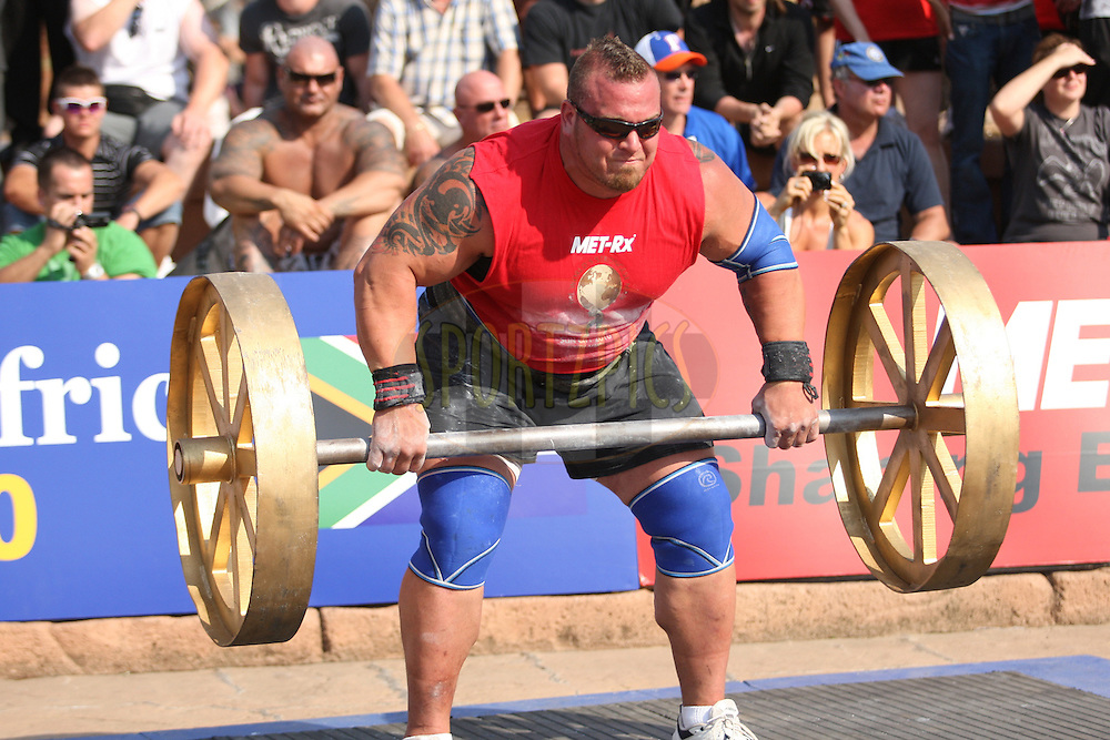 Louis-Philippe Jean (Canada) in action during the overhead lift (for reps), one of the qualifying rounds of the World's Strongest Man competition held in Sun City, South Africa.