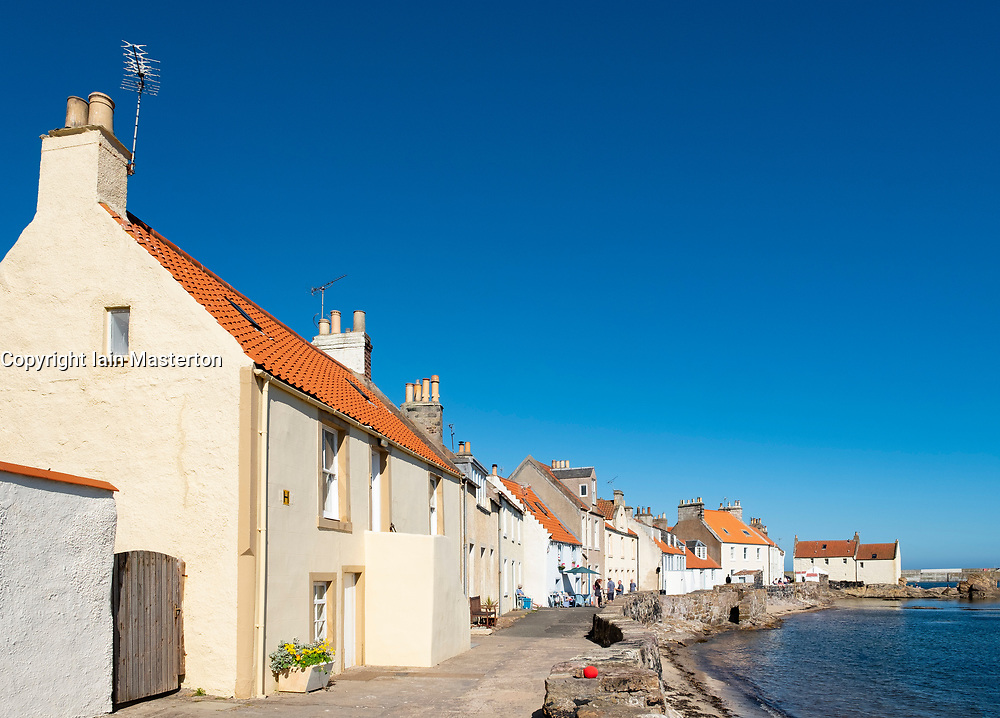 View of harbour front houses in Pittenweem village on East Neuk of Fife in Scotland, UK
