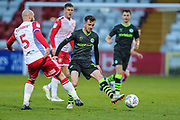 Stevenage's Scott Cuthbert(5) and Forest Green Rovers Elliott Frear(17) during the EFL Sky Bet League 2 match between Stevenage and Forest Green Rovers at the Lamex Stadium, Stevenage, England on 26 December 2019.