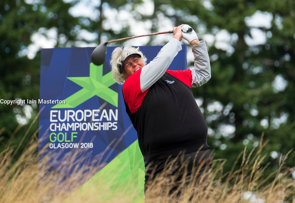 Gleneagles, Scotland, UK; 10 August, 2018.  Day three of European Championships 2018 competition at Gleneagles. Men's and Women's Team Championships Round Robin Group Stage. Four Ball Match Play format.  Pictured; Laura Davies of Great Britain on the 8th tee in match against Belgium.