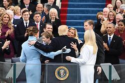 January 20, 2017 - Washington, DC, UNITED STATES - President  Donald J. Trump greets family after taking the Oath of Office at his inauguration on January 20, 2017 in Washington, D.C.  Trump became the 45th President of the United States. (Credit Image: © Pat Benic/CNP via ZUMA Wire)