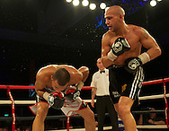 Picture by Alan Stanford/Focus Images Ltd +44 7915 056117<br /> 16/11/2013<br /> Eubank Jr. and Frankie Borg  (black shorts) during their middleweight bout at Glow Bluewater, Greenhithe.