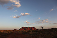 The front of Ayers Rock in Australia at sunset,  photograph by Dennis Brack