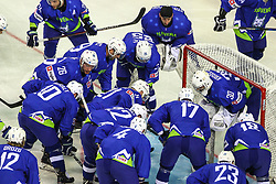 Team Slovenia during Ice Hockey match between National Teams of Slovenia and Poland in Round #2 of 2018 IIHF Ice Hockey World Championship Division I Group A, on April 23, 2018 in Budapest, Hungary. Photo by David Balogh / Sportida