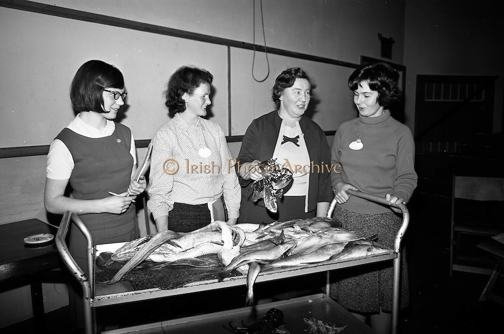 15/11/1966<br /> 11/15/1966<br /> 15 November 1966<br /> Fish Scholarship course at I.C.A. at An Grianan, Termonfeckin, Co. Louth, organised by Bord Iascaigh Mhara. The delegates from I.C.A. Guilds around the country were given a course in fish cookery and lectures and demonstration techniques to impart to their Guilds. Picture shows (l-r): Mrs. Hayes, Oldpark Road, Carlow; Sheila Begin, Blackwood; Mrs. Manton, Tullaroan?, Kilkenny and Mrs Phil O'Loughlin, Carnew, Wicklow.