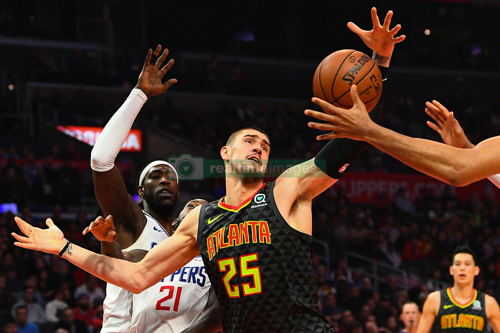 January 29, 2019 - Los Angeles, CA, U.S. - LOS ANGELES, CA - JANUARY 28: Atlanta Hawks Center Alex Len (25) fights for a loose ball during a NBA game between the Atlanta Hawks and the Los Angeles Clippers on January 28, 2019 at STAPLES Center in Los Angeles, CA. (Photo by Brian Rothmuller/Icon Sportswire) (Credit Image: © Brian Rothmuller/Icon SMI via ZUMA Press)