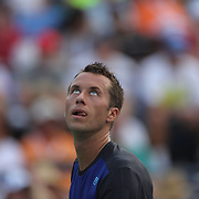 Philipp Kohlschreiber, Germany, in action against  John Isner, USA, during the Men's Singles competition at the US Open. Flushing, New York, USA. 31st August 2013. Photo Tim Clayton