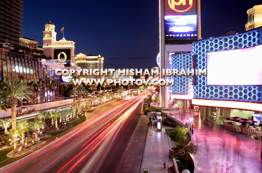 Las Vegas Strip illuminated at night - Las Vegas, Nevada, USA.