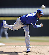 CHICAGO - APRIL 03:  Ervin Santana #54 of the Kansas City Royals pitches against the Chicago White Sox on April 3, 2013 at U.S. Cellular Field in Chicago, Illinois.  The White Sox defeated the Royals 5-2.  Ramirez was charged with an error on the play.(Photo by Ron Vesely)   Subject: Ervin Santana