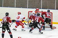 2020-01-19 | Umeå, Sweden: Vallentuna close to make a goal in AllEttan during the game  between Teg and Vallentuna at A3 Arena ( Photo by: Michael Lundström | Swe Press Photo )<br /> <br /> Keywords: Umeå, Hockey, AllEttan, A3 Arena, Teg, Vallentuna, mltv200119
