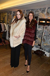 Left to right, KIERA GORMLEY and KIM NAYAR at the Mila Furs Trunk Show held at the Haymarket Hotel, 1 Suffolk Place, London on 1st November 2016.