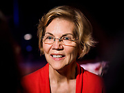 25 APRIL 2019 - CEDAR RAPIDS, IOWA: US Sen. ELIZABETH WARREN (D MA) talks to reporters after Warren's campaign speech at the Linn Phoenix Club in Cedar Rapids. The Linn Phoenix Club is an organization that promotes Democratic candidates in Linn County, Iowa. Sen. Warren is campaigning in eastern Iowa Thursday night and Friday to promote her bid to the Democratic candidate for the US Presidency. Iowa traditionally hosts the the first selection event of the presidential election cycle. The Iowa Caucuses will be on Feb. 3, 2020.           PHOTO BY JACK KURTZ