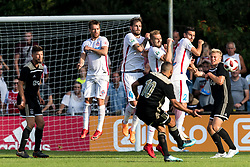 Zakaria Labyad of Ajax takes a free kick during the friendly match between Ajax Amsterdam and Steaua Bucharest on July 7, 2018 at Sportpark Achterveen in Hattem, The Netherlands