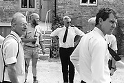 Michael Eavis with the police fire safety team. Glastonbury, Somerset, 1989.