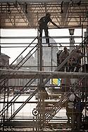 Roma  29.04.2011 - Beatificazione di Papa Giovanni Paolo II. Roma si prepara ad accogliere le migliaia di fedeli che parteciperanno alla beatificazione di Papa Wojtyla..Nella Foto: Operai al lavoro in Via della Conciliazione per predisporre le tribune per la stampa..Photo by Giovanni Marino
