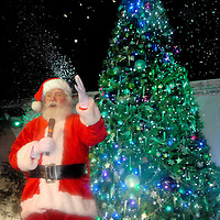 Santa Claus welcomes guests at the Third Street Promenade during the annual Winterlit Celebration and Tree Lighting ceremony on Sunday, December 5, 2010