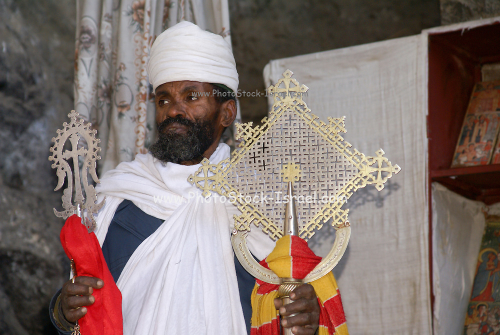Africa, Ethiopia, Lalibela, Interior of Rock Hewn church. Celebrating Sunday Mass