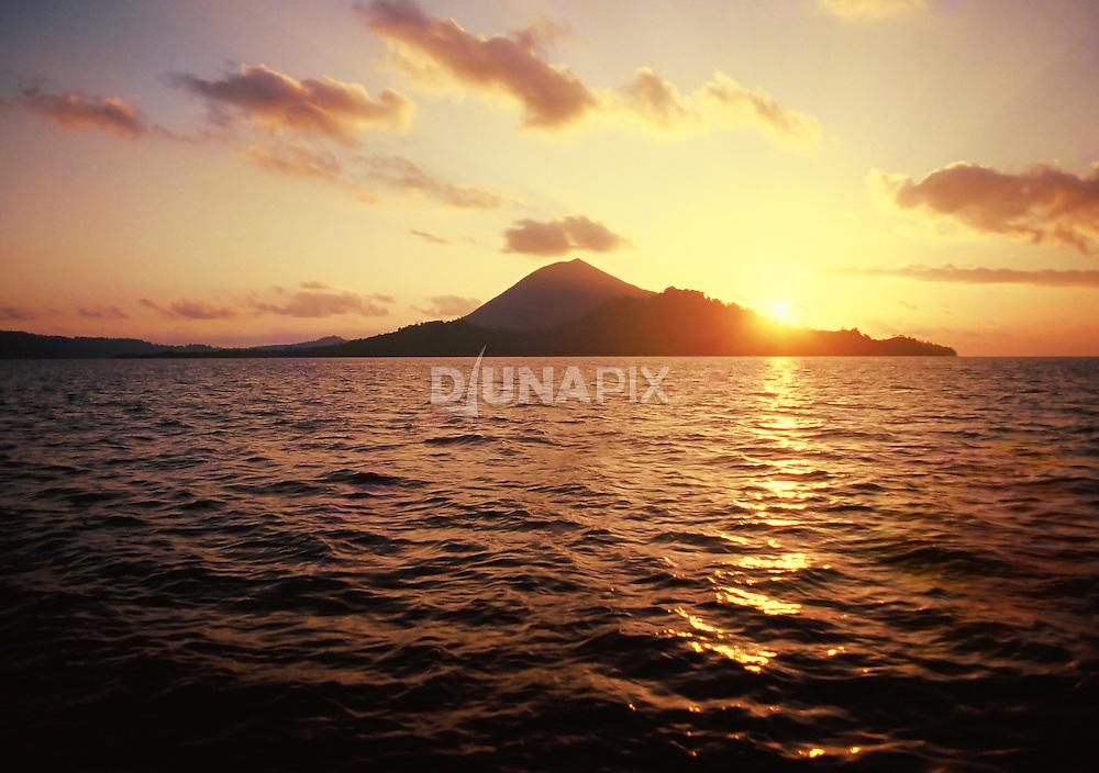 Sunset over islands of the Banda Archipelago, Maluku, Indonesia