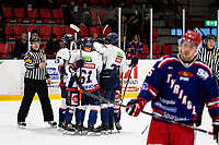 2019-10-13   Tyringe, Sweden: Halmstad Hammers celebrates during the game between Tyringe SoSs and Halmstad Hammers at Tyrs Hov (Photo by: Jonathan Persson   Swe Press Photo)<br /> <br /> Keywords: Tyrs Hov, Tyringe, Hockeyettan, Hockeyettansödra, Tyringe SoSs, Halmstad Hammers, (Match code th191013)