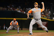 PHOENIX, AZ - AUGUST 26:  Madison Bumgarner #40 of the San Francisco Giants delivers a pitch in the first inning of the MLB game against the Arizona Diamondbacks at Chase Field on August 26, 2017 in Phoenix, Arizona.  (Photo by Jennifer Stewart/Getty Images)