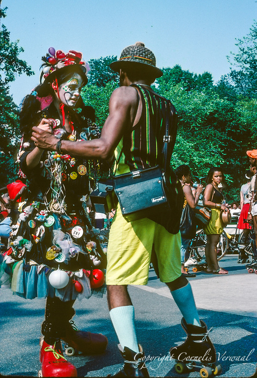 Roller disco in Central Park, New York City, 1989