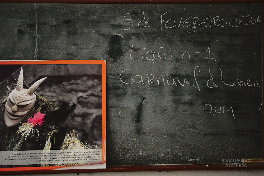 The blackboard of elementary school, with the writing from the last schoolday before  Carnival (February 5th)