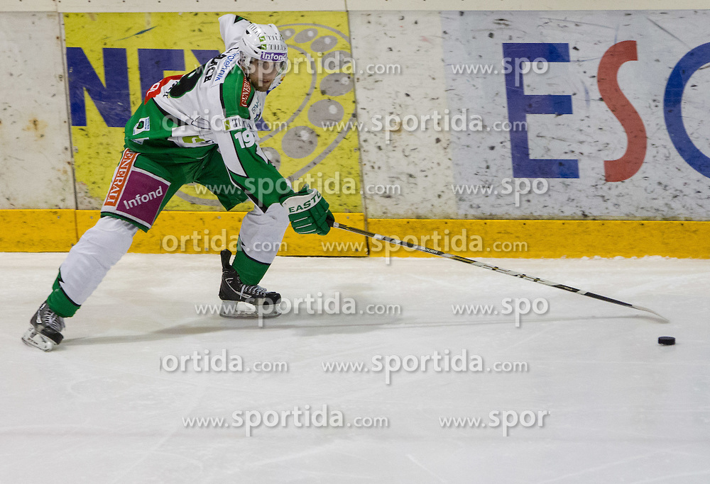 Ziga Pance of Olimpija during ice-hockey match between HK Acroni Jesenice and HDD Tilia Olimpija  in second game of Finals at Slovenian National League, on March 28, 2012 at Podmezakla, Jesenice, Slovenia. Acroni Jesenice defeated Tilia Olimpija 3-2 after overtime. (Photo by Vid Ponikvar / Sportida.com)