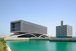 View of modern architecture of Arcapita investment company headquarters and private mosque in Manama Bahrain