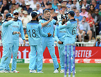 Cricket - 2019 ICC Cricket World Cup - Group Stage: England vs. Pakistan<br /> <br /> Chris Woakes celebrates his catch of Sarafaraz Ahmed of Pakistan, at Trent Bridge, Nottingham.<br /> <br /> COLORSPORT/ANDREW COWIE