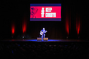 Comedian Steve Gribbin performing at the #KeepCorbyn event, part of the #JC4PM tour a fringe event orgainised as part of the TUC 2016 by PCS. Brighton, UK.