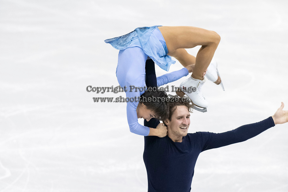 KELOWNA, BC - OCTOBER 26:  Liubov Ilyushechkina and Charlie Bilodeau of Canada compete in pairs free skate during Skate Canada International at Prospera Place on October 25, 2019 in Kelowna, Canada. (Photo by Marissa Baecker/Shoot the Breeze)