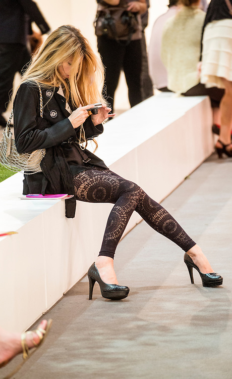 Woman in lace tights at Art Basel 2012