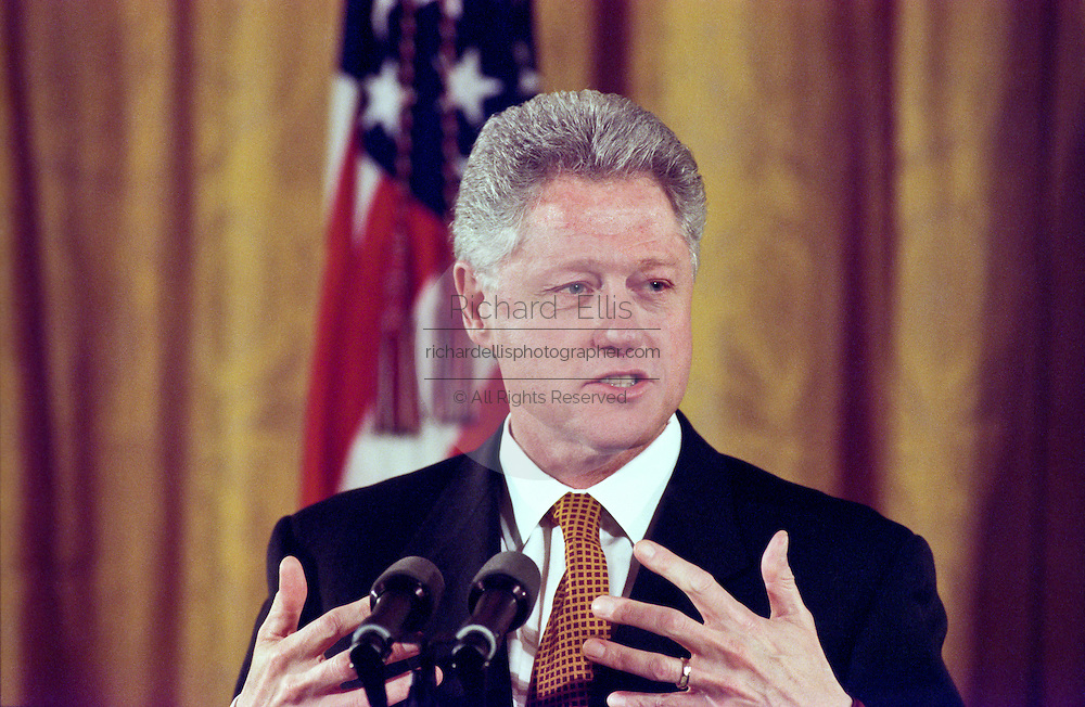 US President Bill Clinton speaks on Social Security February 17, 1999 at the White House in Washington, DC.