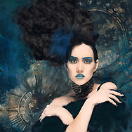 Painterly rendition of a woman with upward flowing hair striking a pose against a teal background with historical clock faces