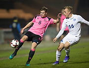 Scotland's James Jones takes on Estonia's Martin Miller - Scotland under 21s v Estonia international challenge match at St Mirren Park, St Mirren. Pic David Young<br />  <br /> - © David Young - www.davidyoungphoto.co.uk - email: davidyoungphoto@gmail.com