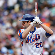 NEW YORK, NEW YORK - May 22:  Neil Walker #20 of the New York Mets batting during the Milwaukee Brewers Vs New York Mets regular season MLB game at Citi Field on May 22 2016 in New York City. (Photo by Tim Clayton/Corbis via Getty Images)