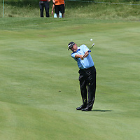 Loren Roberts hitting his second shot on the 18th fairway at the 2016 American Family Championship held at University Ridge Golf Course, Madison,  WI. on June 24, 2016.<br /> <br /> <br /> <br /> <br /> <br />  2016 American Family Championship held at University Ridge Golf Course, Madison,  WI. on June 23, 2016.