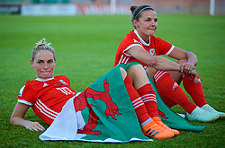 NEWPORT, WALES - Tuesday, June 12, 2018: Wales' Jessica Fishlock and Loren Dykes celebrate after beating Russia 3-0 during the FIFA Women's World Cup 2019 Qualifying Round Group 1 match between Wales and Russia at Newport Stadium. (Pic by David Rawcliffe/Propaganda)