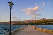 De Bosset Bridge (formerly Drapano Bridge) is a stone bridge built in 1813 over the bay of Argostoli in Kefalonia. At 689.9 meters, it is the longest stone bridge over the sea in the world.