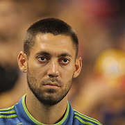 Clint Dempsey, Seattle Sounders, during the National Anthem before the New York Red Bulls Vs Seattle Sounders, Major League Soccer regular season match at Red Bull Arena, Harrison, New Jersey. USA. 20th September 2014. Photo Tim Clayton