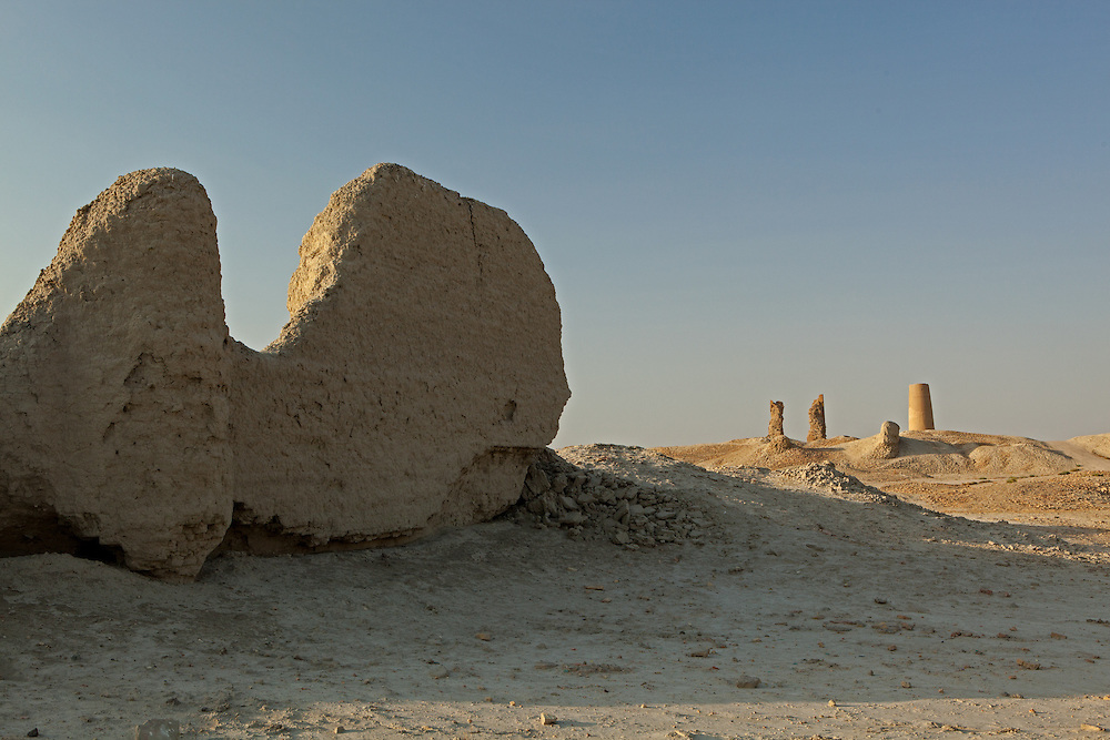 Part of the outer wall, and the remaining buildings of the silk road city of Dekhistan, Turkmenistan