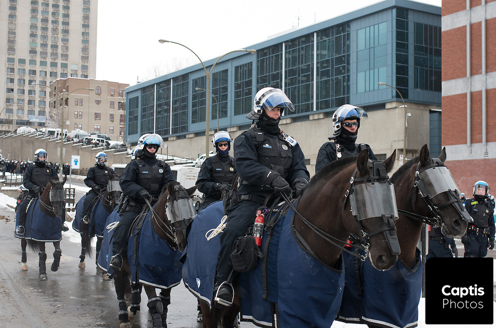 Police on horseback at the protest. March 15, 2015.