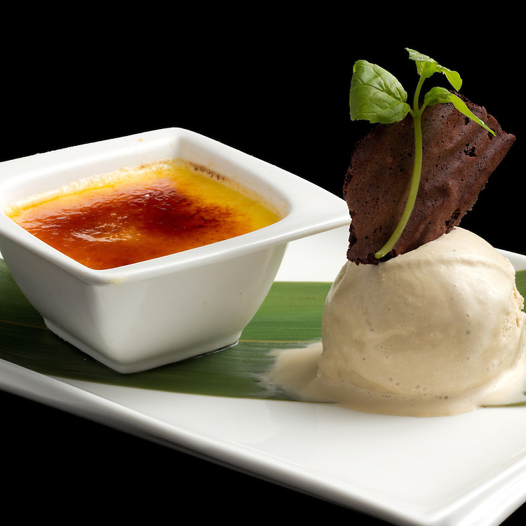 Food Photography - Creme Brulee with French Vanilla Ice cream