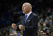 Nov 6, 2019; Los Angeles, CA, USA; UCLA Bruins head coach Mick Cronin reacts in the first half against the Long Beach State 49ersat Pauley Pavilion.